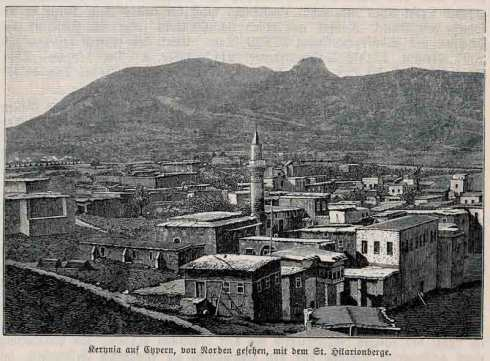 Kyrenia view from the north with Saint Hilarion mountain hill